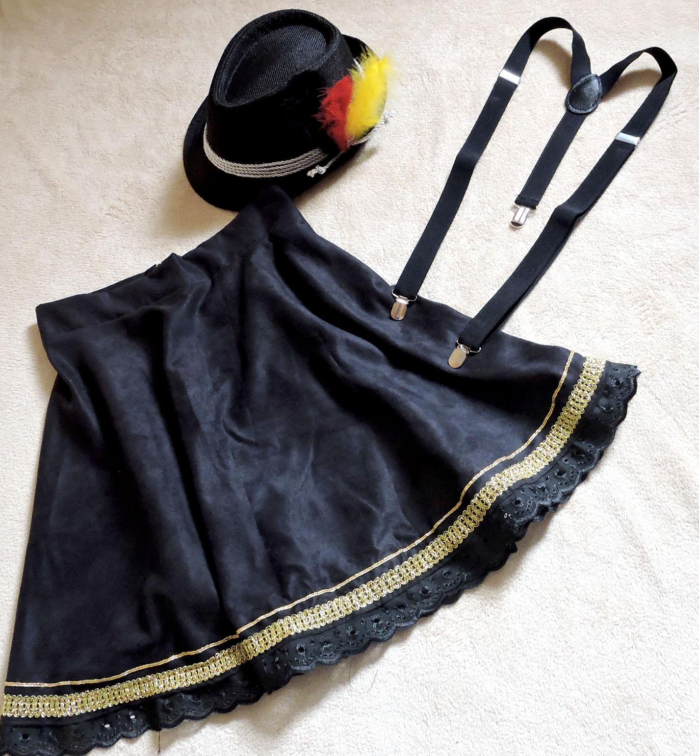 suspensório, chapéu e saia típica alemã
